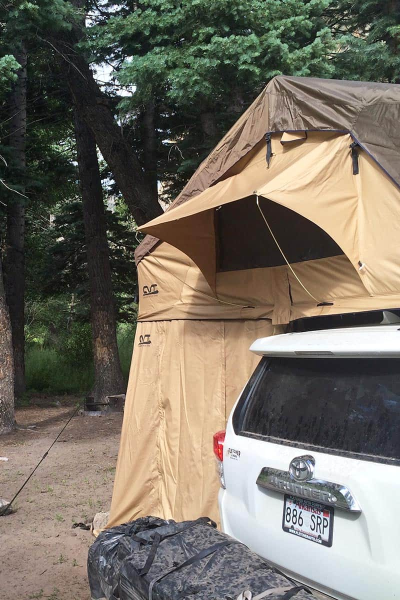 roof top tent with annex on Toyota 4Runner in Great Sand Dunes National Park primitive camping site
