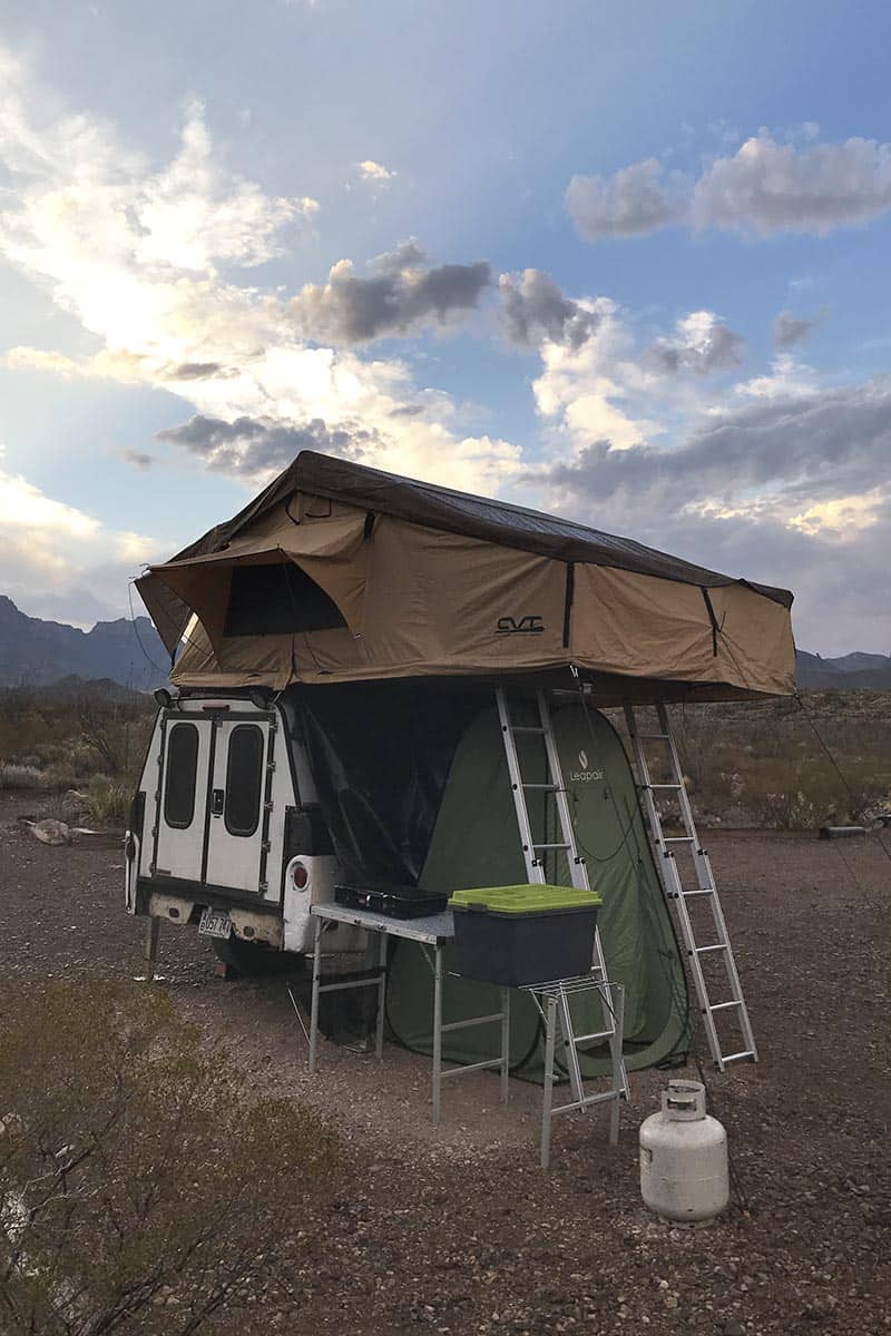 rooftop tent camping setup at Big Bend National Park in Texas