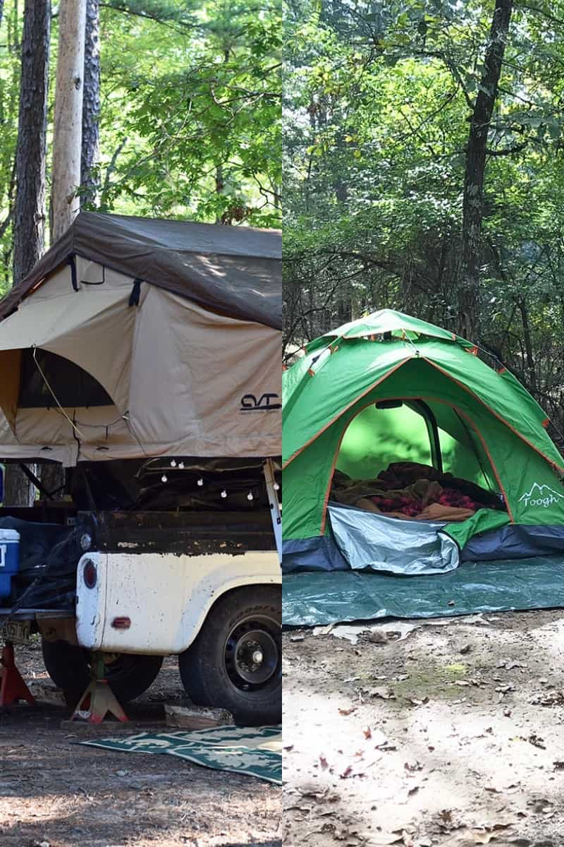 roof top tent on camp trailer and ground tent on green tarp with front flap open