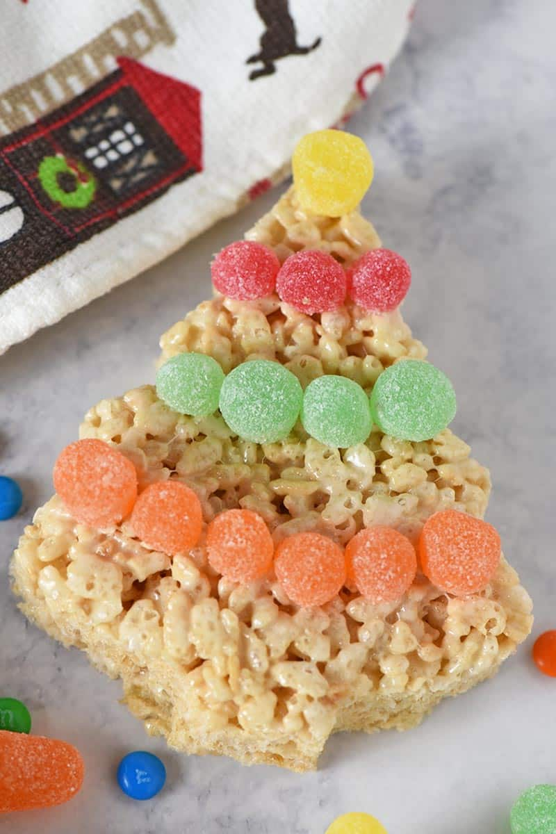 spice drop tinsel on Christmas tree Rice Krispie treats