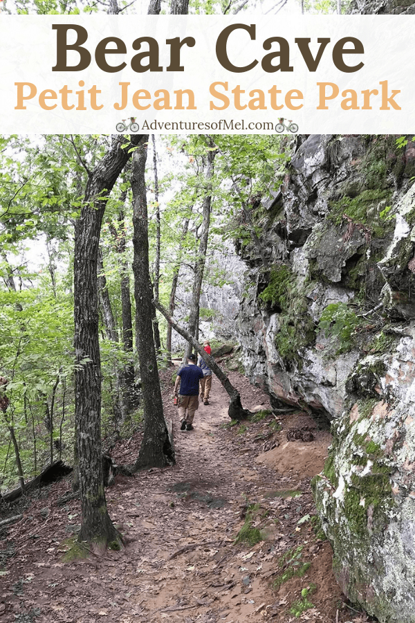 hiking along bluff lines on Bear Cave Trail in Petit Jean State Park
