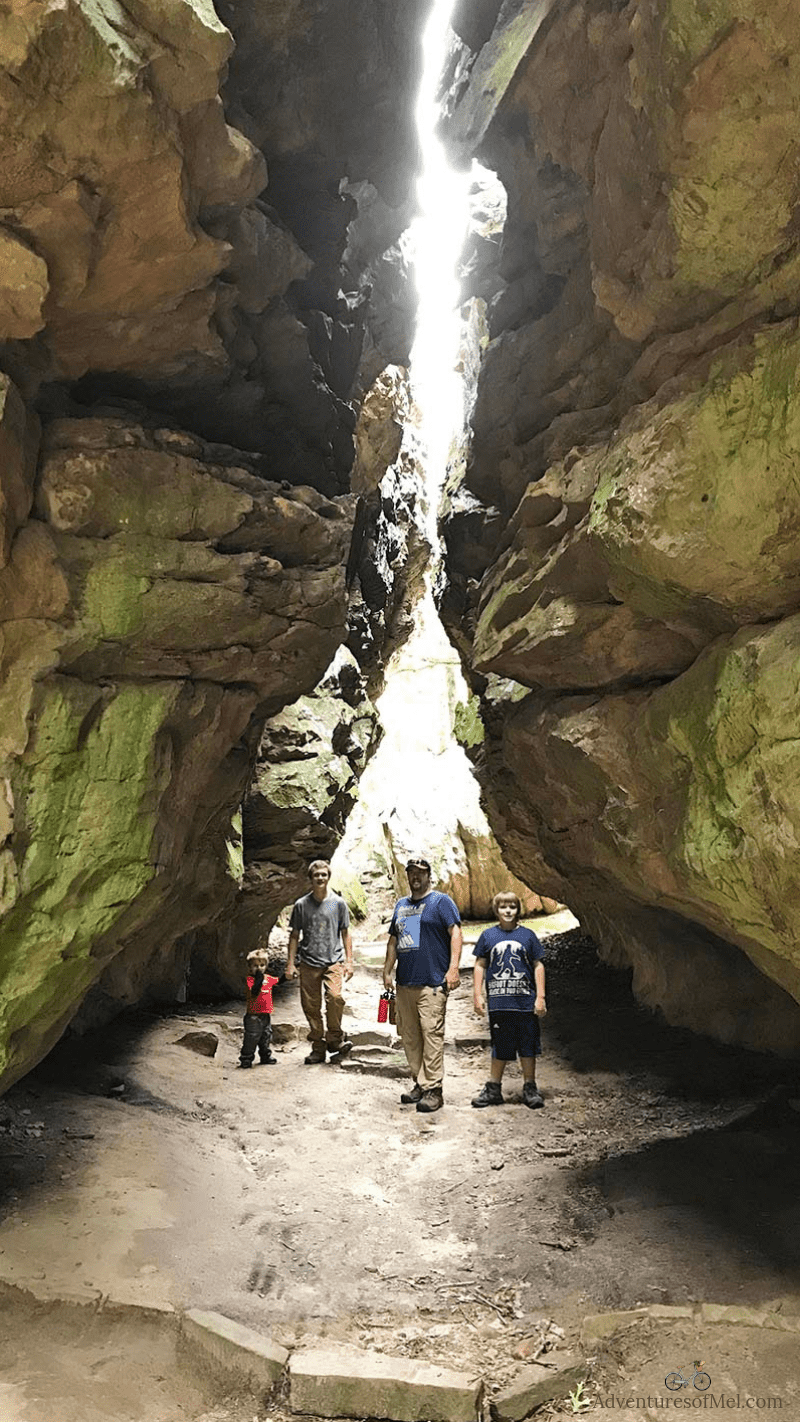 hiking Bear Cave Trail at Petit Jean in Arkansas
