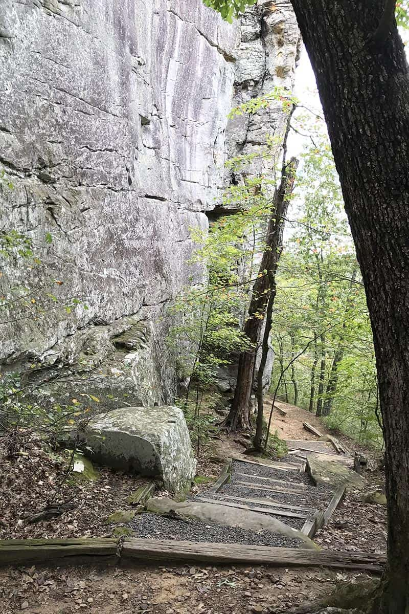 railroad tie steps on Bear Cave Trail in Petit Jean