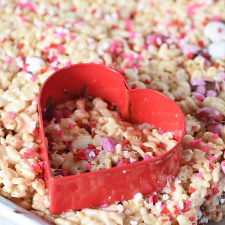 M&M's Heart Shaped Valentine Rice Krispie Treats