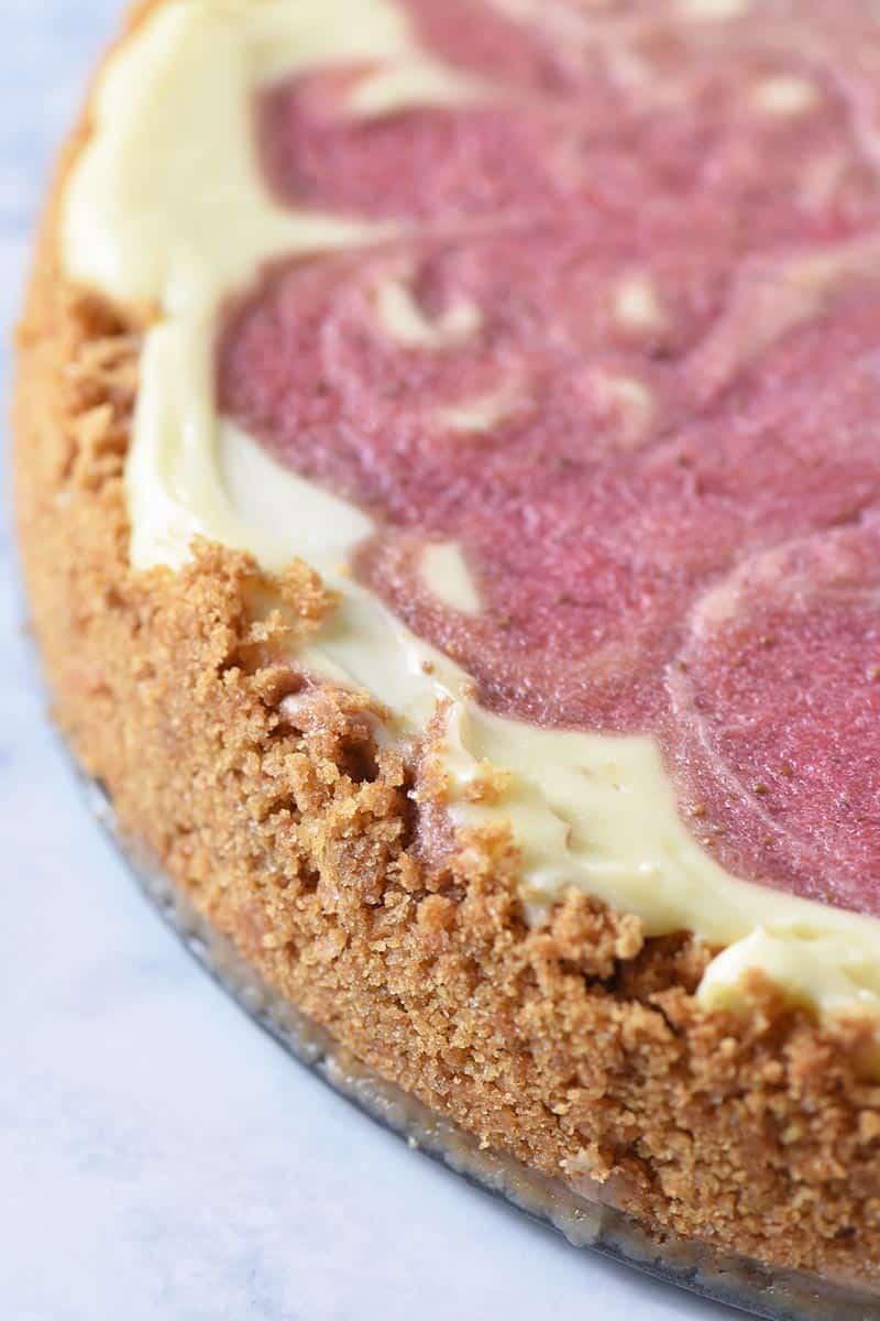 homemade graham cracker cheesecake crust with strawberry cheesecake