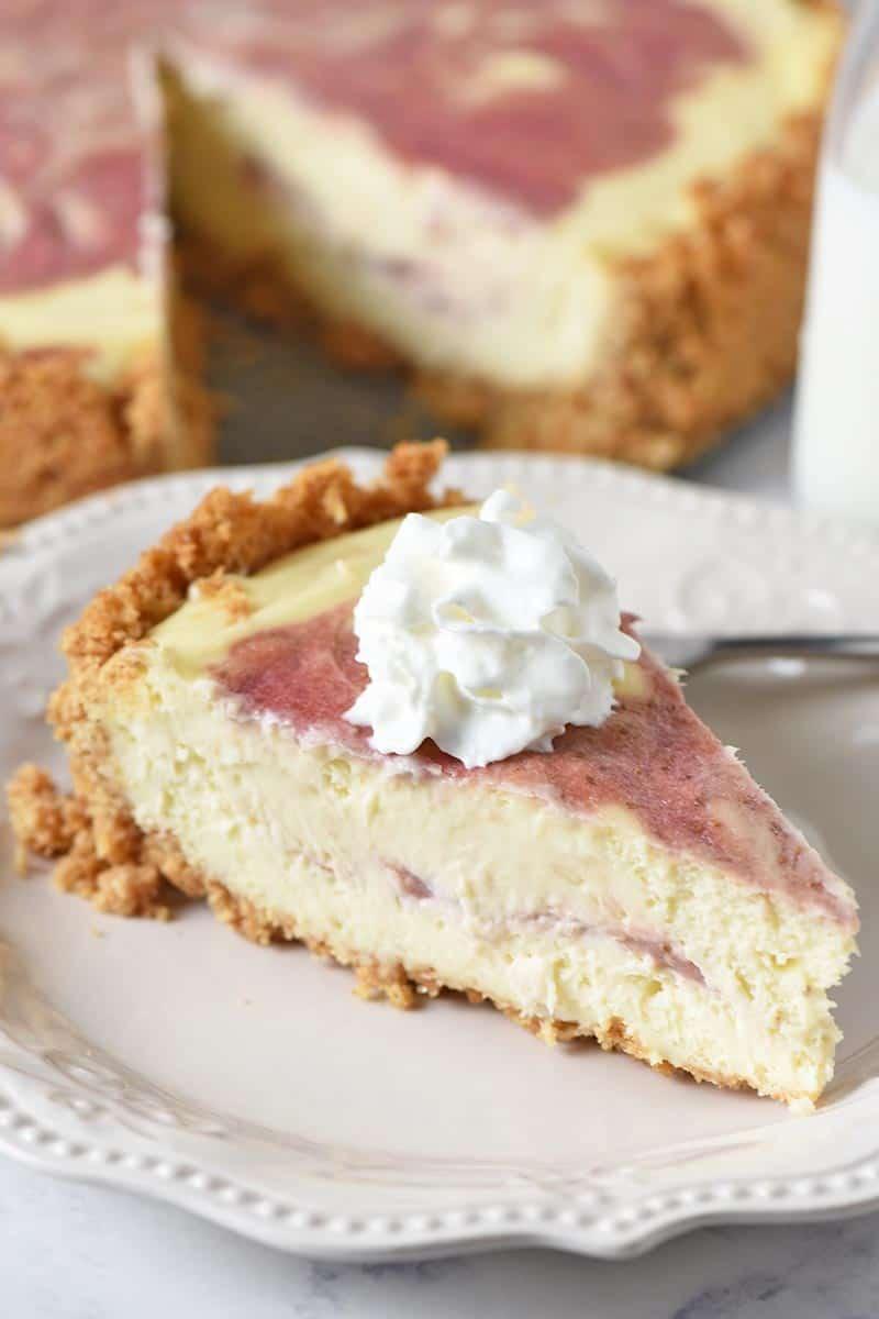 slice of cheesecake with homemade graham cracker crust