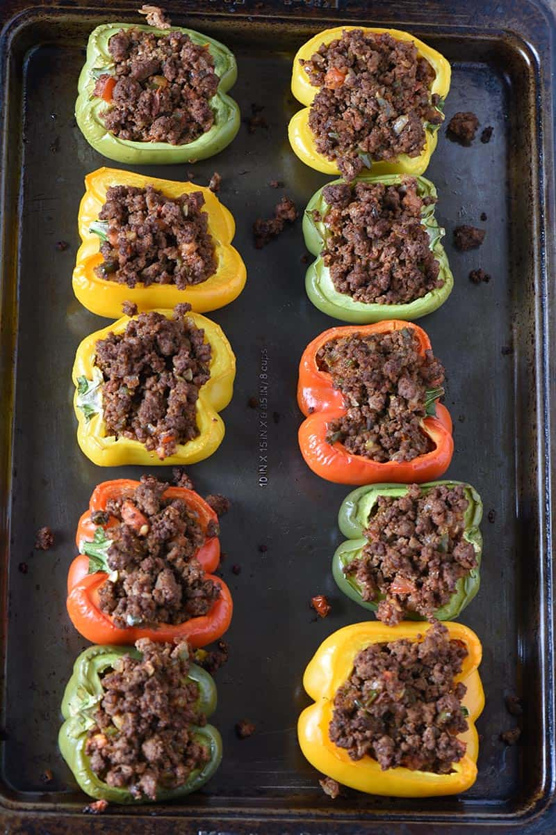 ground beef taco stuffed peppers, baked on baking sheet