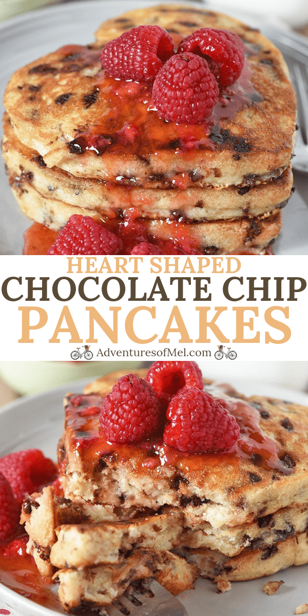 heart shaped chocolate chip pancakes recipe