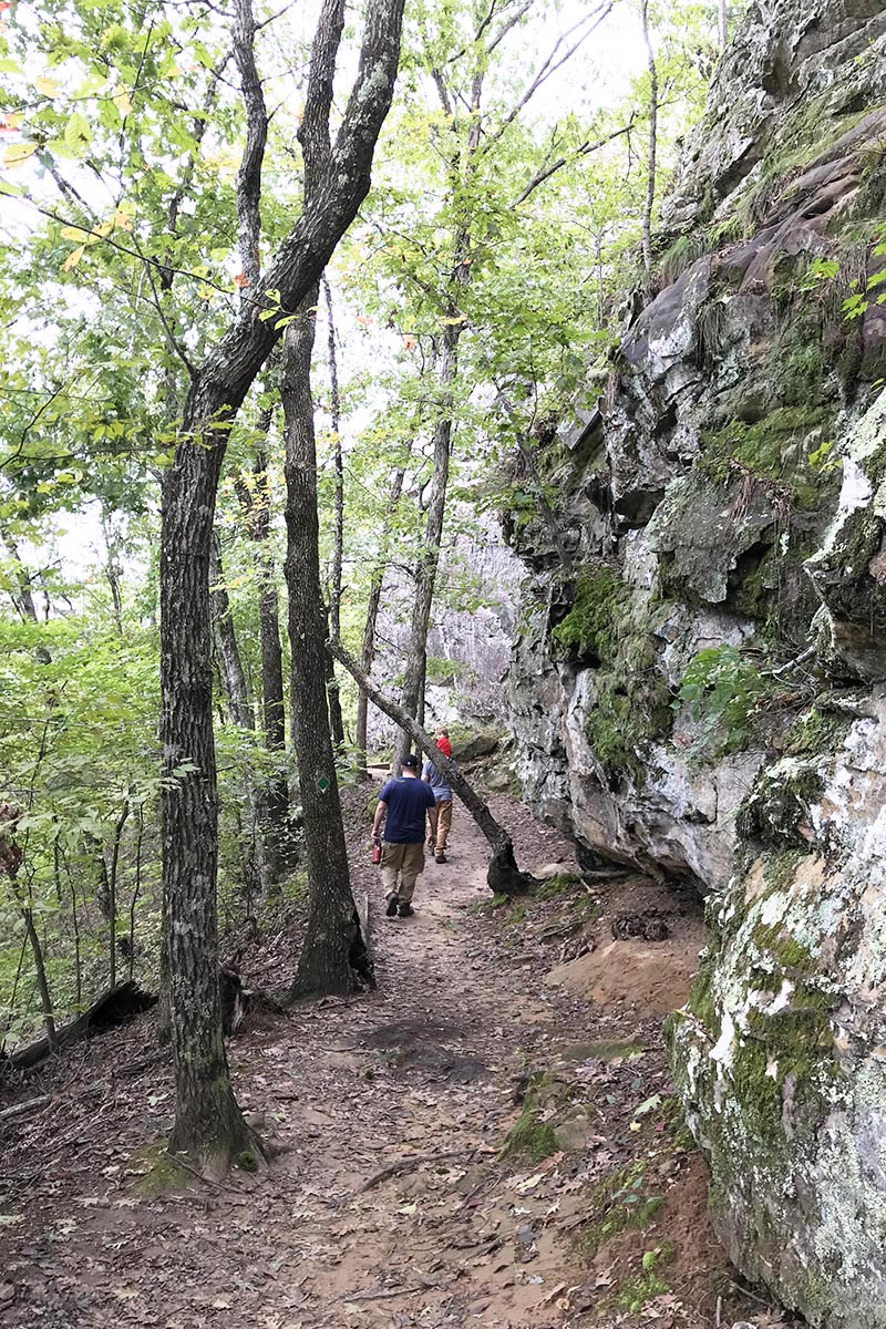 family hiking along the bluffline on Bear Cave Trail in Arkansas State Parks, Petit Jean