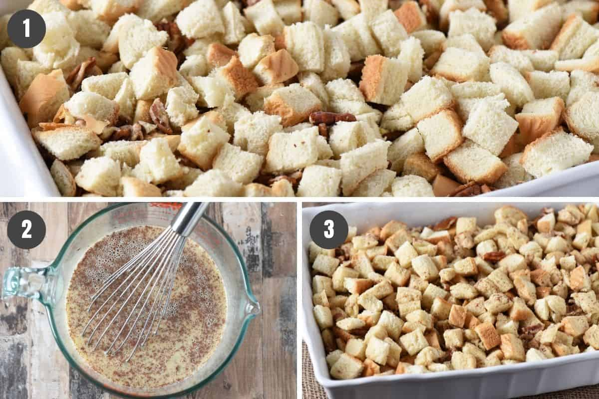 how to make French toast casserole with white bread in 3 steps, including cubed bread and pecans in baking dish, beating eggs with milk and spices, and pouring egg mixture over bread cubes