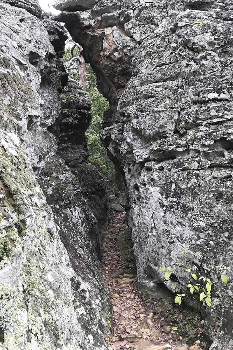 narrow crevice trail on Bear Cave Trail in Petit Jean State Park
