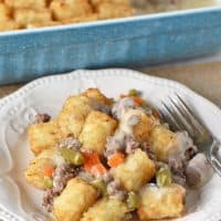 tater tot casserole recipe served on white plate with fork