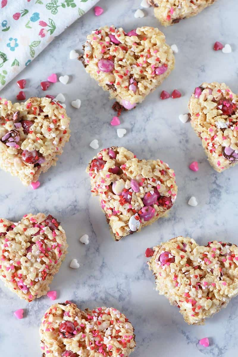 Valentine Rice Krispie treats with heart sprinkles and Valentine M&M's