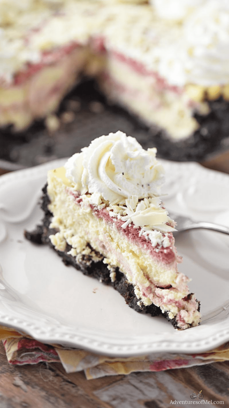 slice of homemade Olive Garden white chocolate raspberry cheesecake