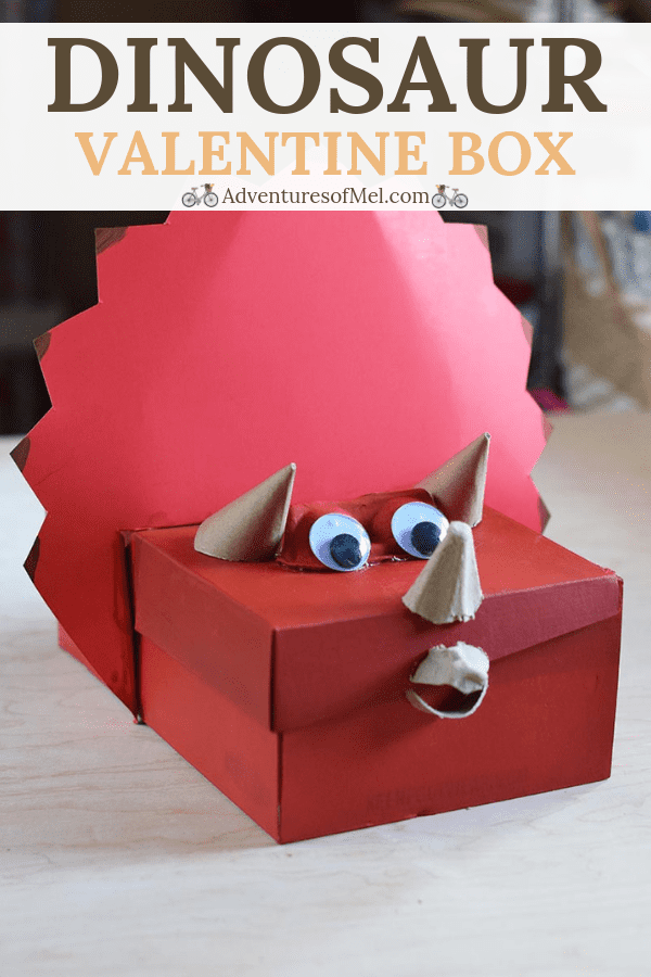 Dinosaur Valentine Box made out of an old shoebox