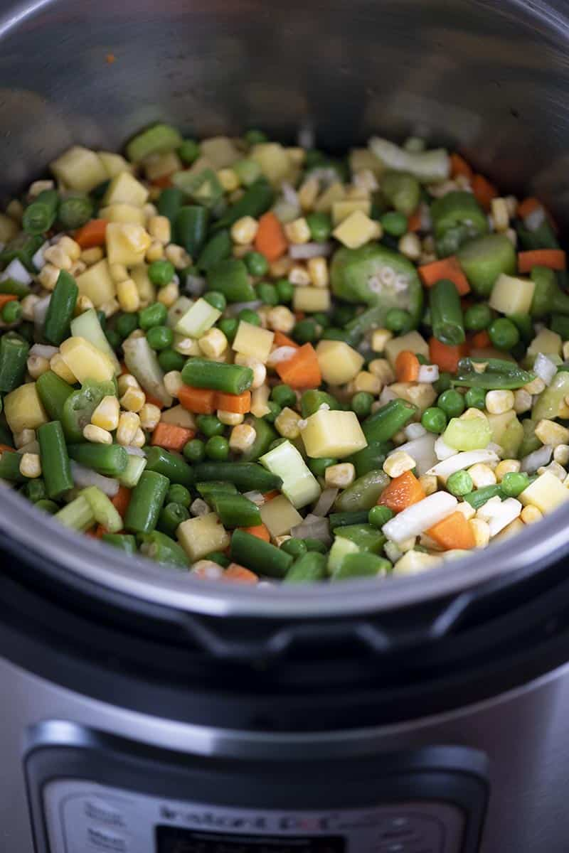 fresh and frozen veggies for vegetable soup in Instant Pot pressure cooker