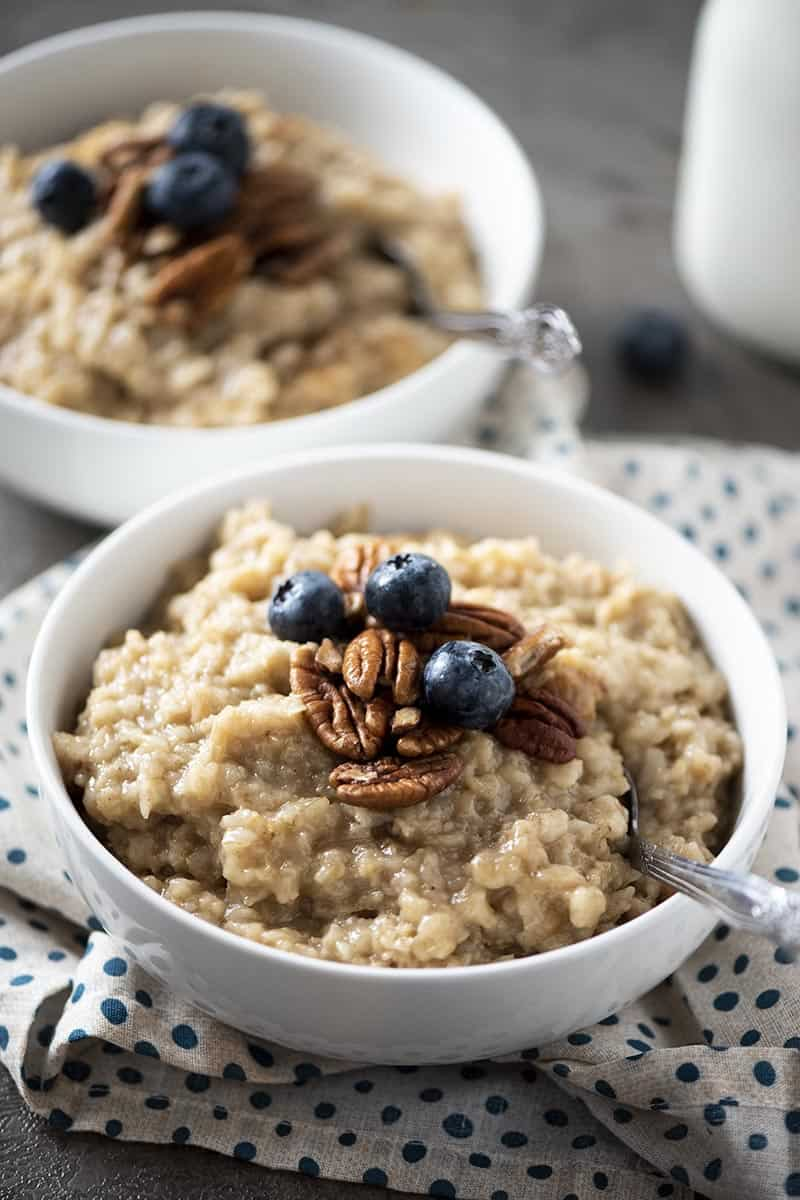 white bowl with maple brown sugar oatmeal, made with pressure cooker oatmeal