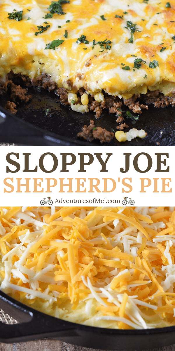 Cheesy Sloppy Joe Shepherd's Pie Recipe made in a cast iron skillet