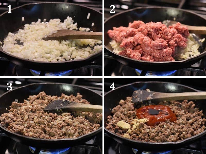 making sloppy joe meat mixture for shepherd's pie in cast iron skillet on stove