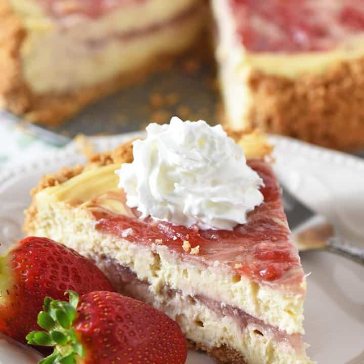 Fresh Strawberry Swirl Cheesecake