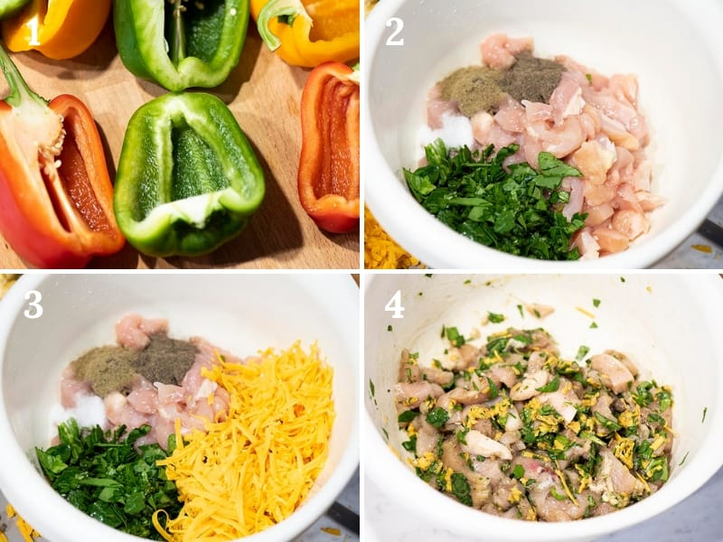 how to make stuffed peppers with chicken, spinach, cheese, and seasonings, including the steps to making the chicken mixture in a white mixing bowl