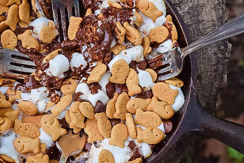 cast iron pan with s'mores dip and forks on stump, camping food