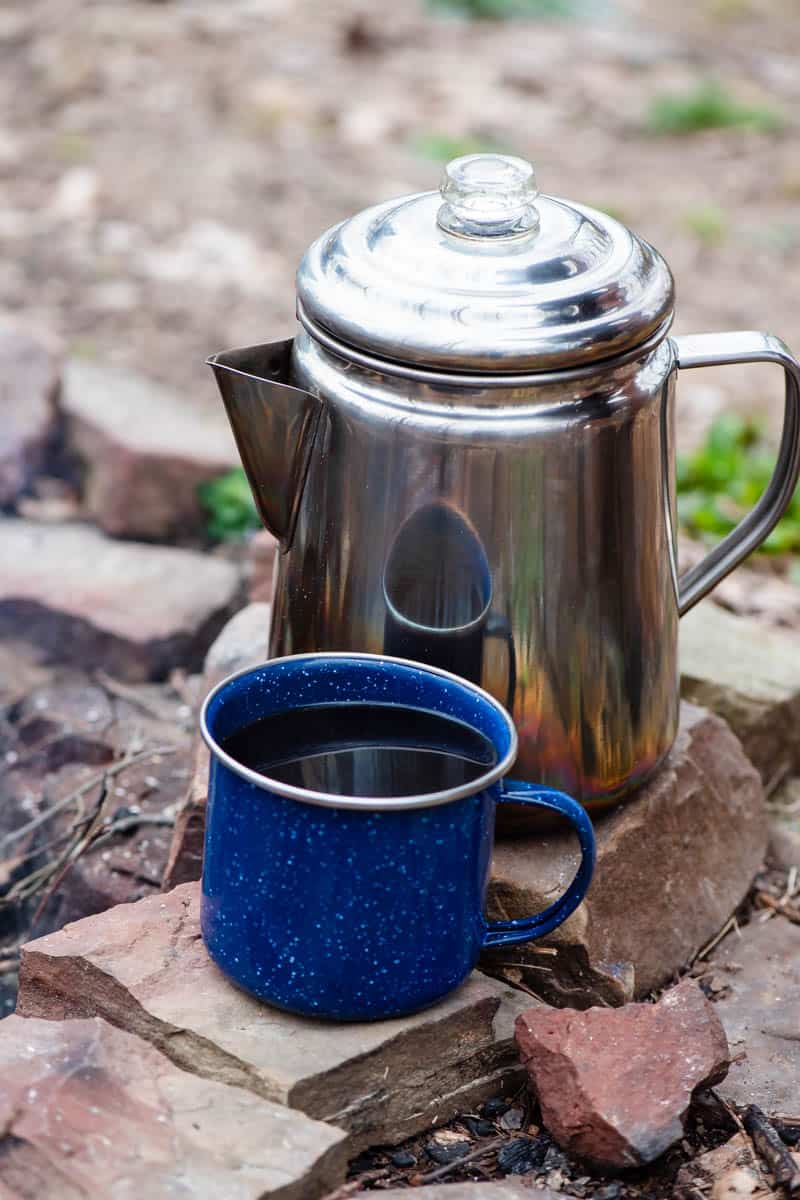 coffee percolator with coffee mug for camping cookware