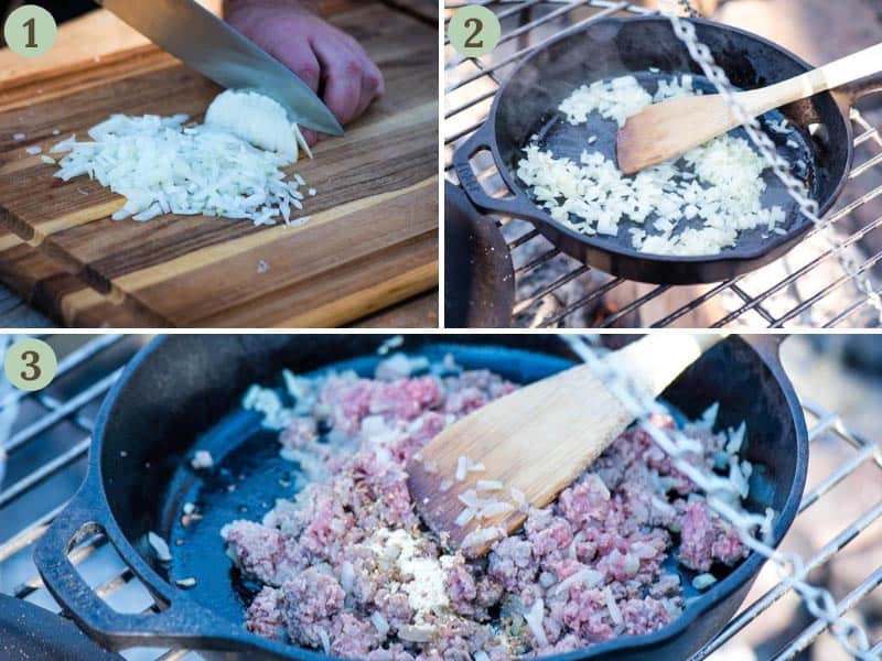 chopping onion, sautéing onion, and cooking ground beef in cast iron skillet over campfire for cheeseburger pizza