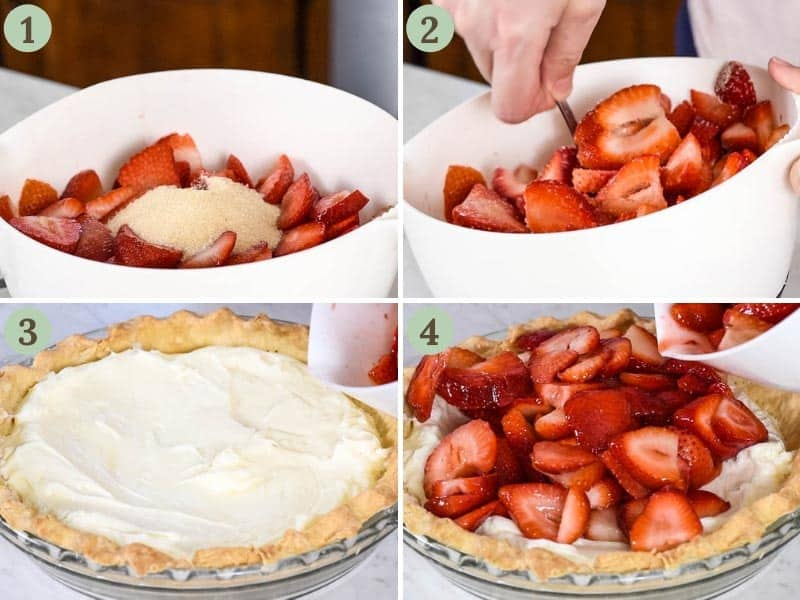 layering a strawberry cream cheese pie with fresh strawberries, mixed with sugar, and a cream cheese filling