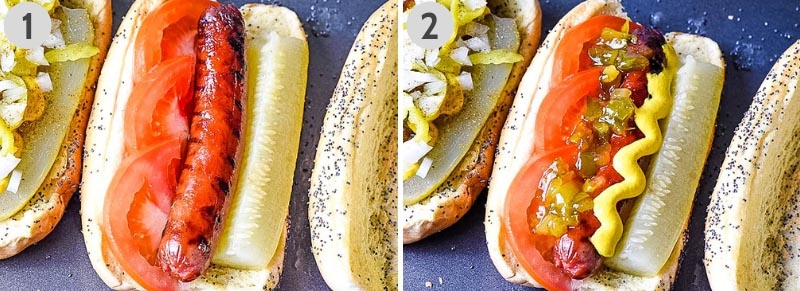 steps for making Chicago hot dog recipe, including layers of pickle spear, tomato wedges, yellow mustard, and pickle relish