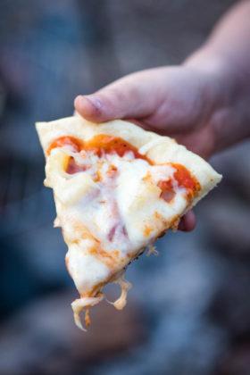 Quick and Easy Campfire Hawaiian Pizza