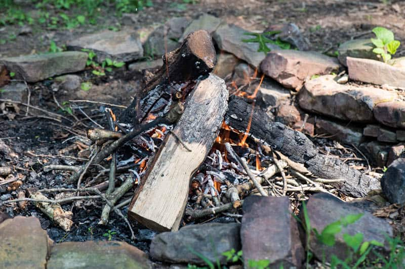 campfire built with homemade fire starters