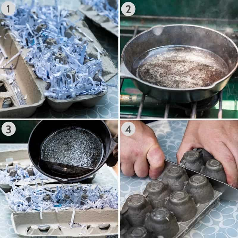 steps for making fire starters using an egg carton, paper shreds, and melted paraffin wax, also cutting the egg carton apart with knife