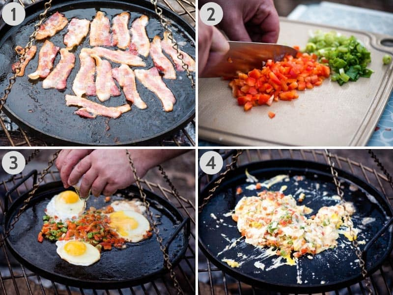 cooking bacon, bell pepper, green onions, and eggs for homemade breakfast wraps