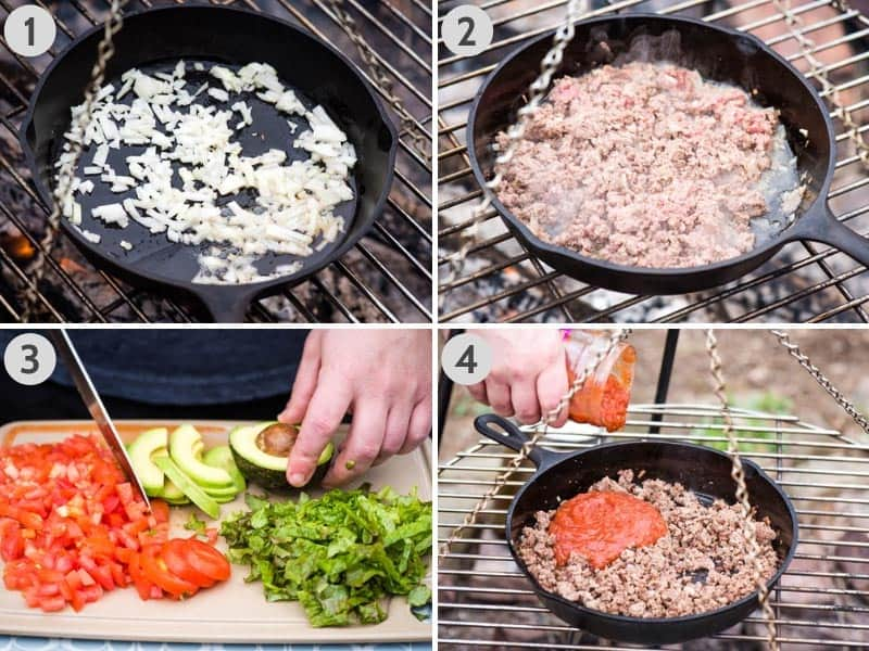 cooking taco meat in cast iron skillet over campfire and prepping walking taco toppings on cutting board