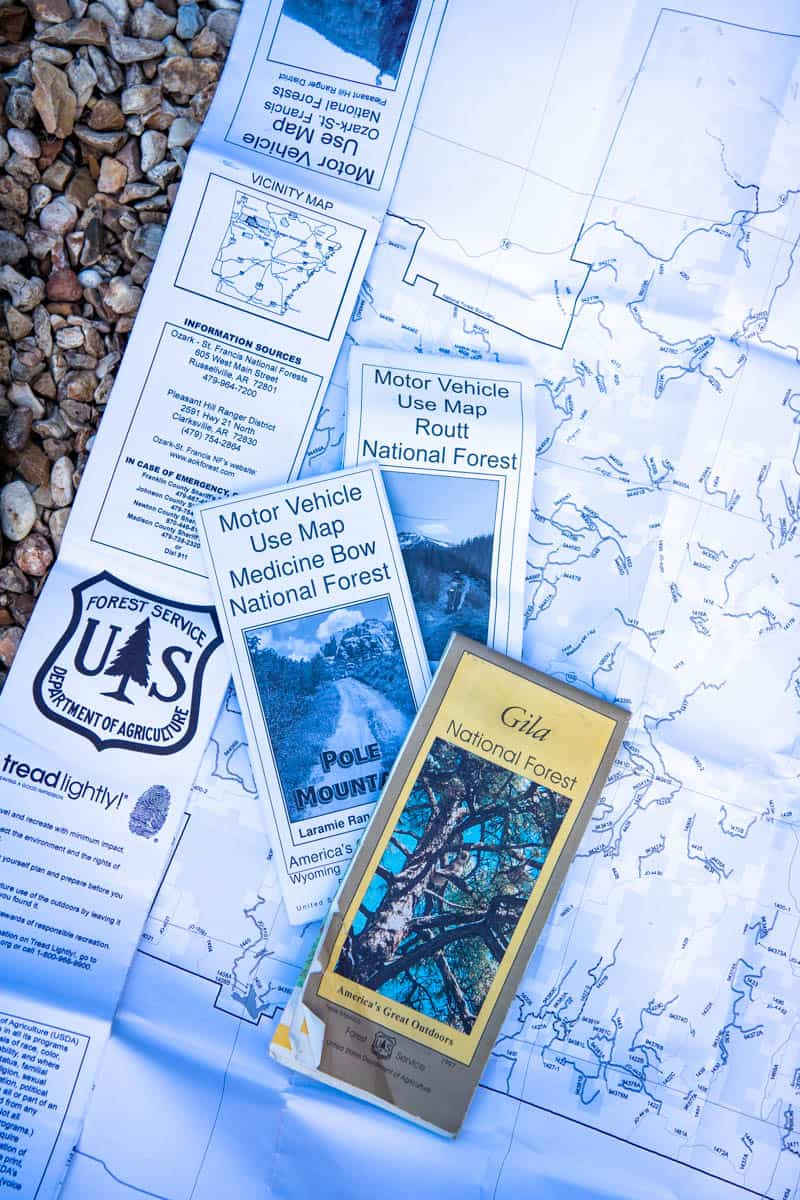 motor vehicle use maps on rocks, perfect for finding back roads, Forest Service roads, and free camping in the USA