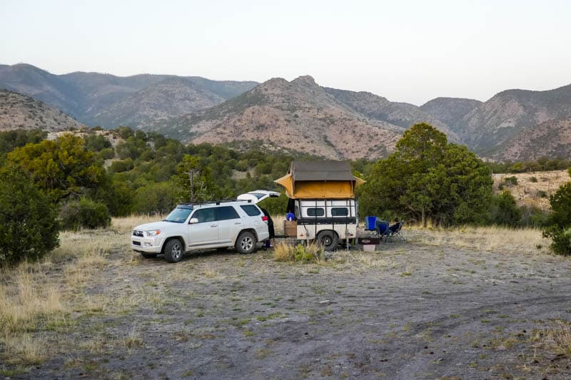 4Runner with rooftop tent dispersed camping in the mountains of New Mexico, USA