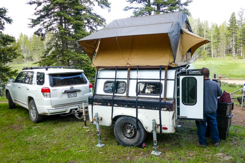 wild camping with a rooftop tent and camp trailer in the Carson National Forest in New Mexico, USA