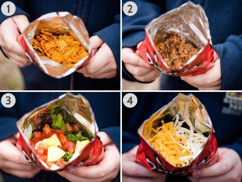 how to make walking tacos by layering ingredients in Doritos chip bag