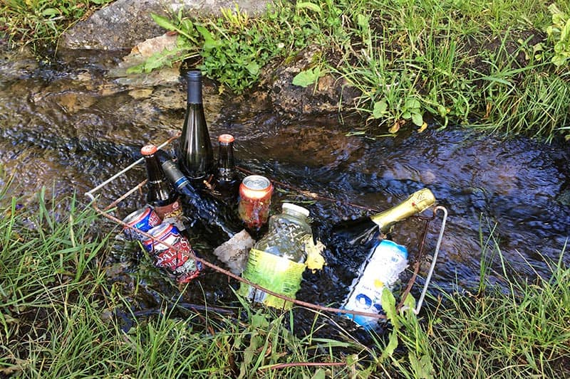 keeping drinks cold in a mountain stream in Crystal City, Colorado