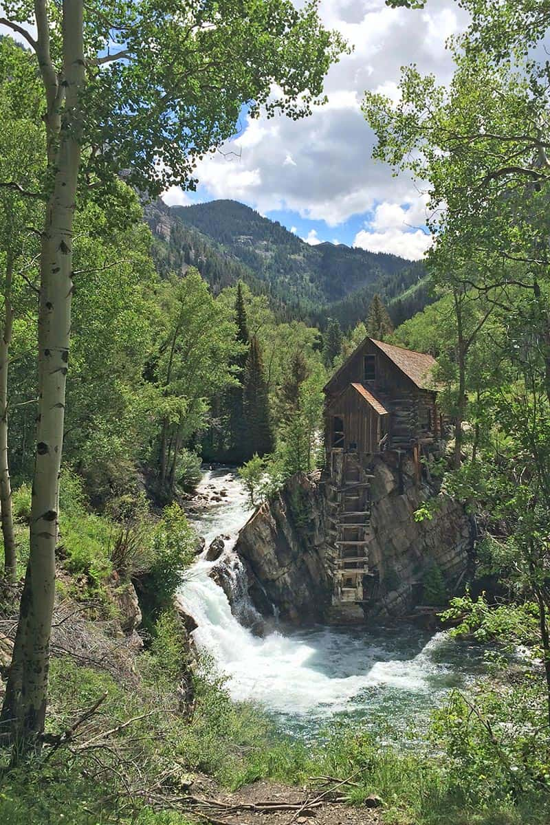 Crystal Mill, Colorado with the Crystal River and Rocky Mountains