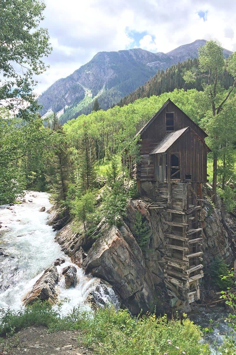 Crystal Mill, Colorado, on the edge of the Crystal River in the Maroon Bells Wilderness during the summer