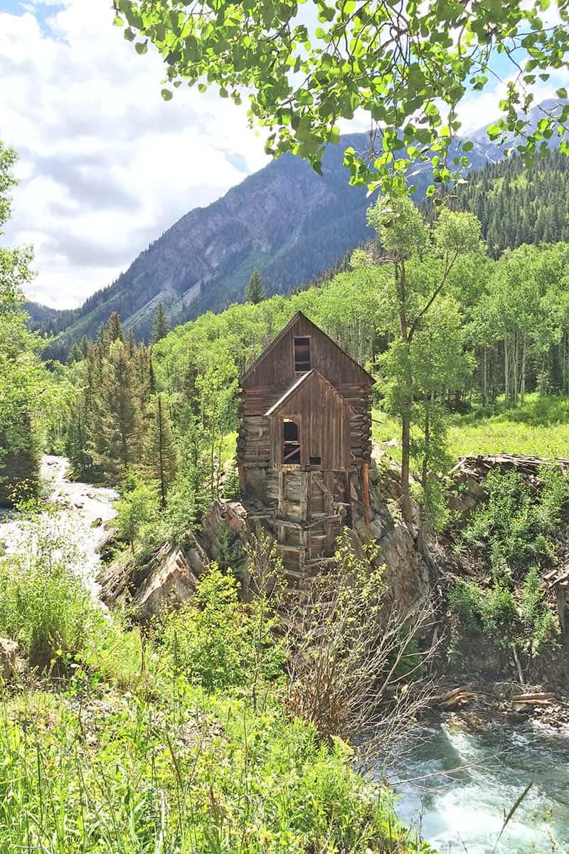 haunted Crystal Mill outside Marble, Colorado, during the summertime
