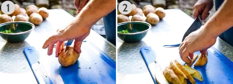 how to cut steak fries out of Russet potatoes with large knife on blue cutting board