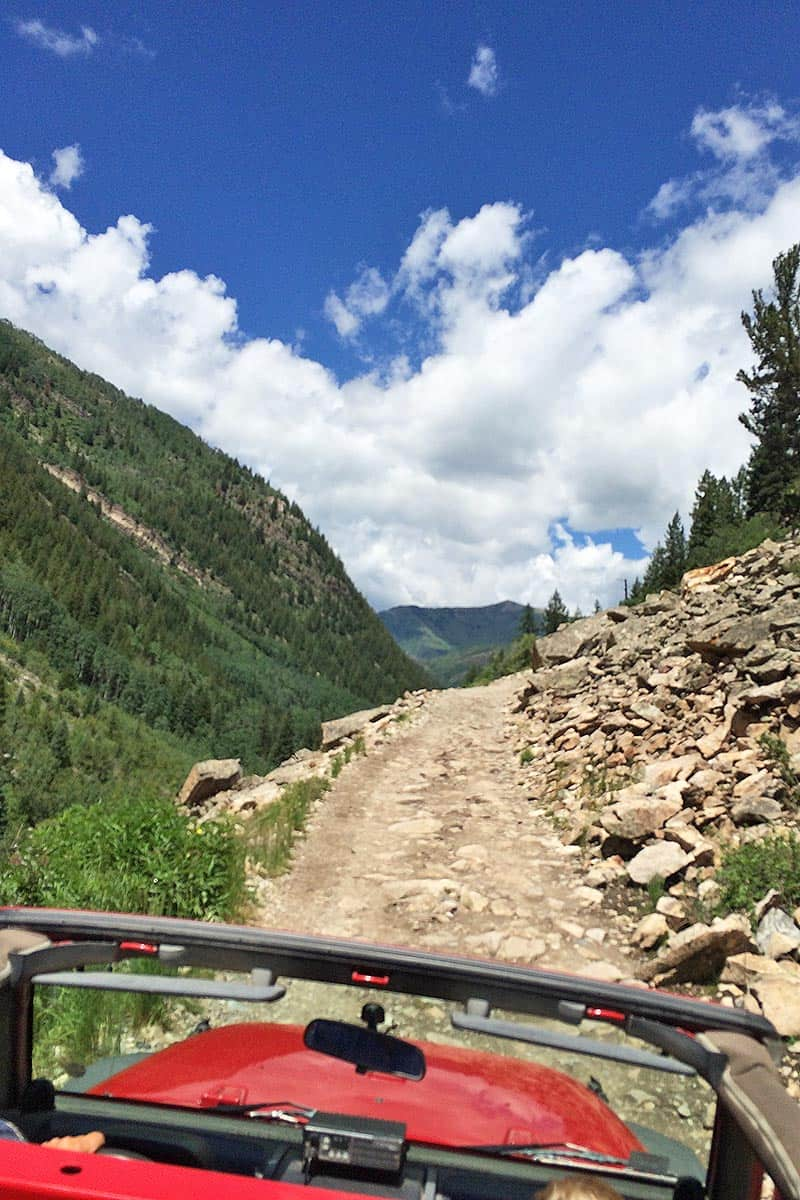 Jeep tour along road to Crystal, Colorado