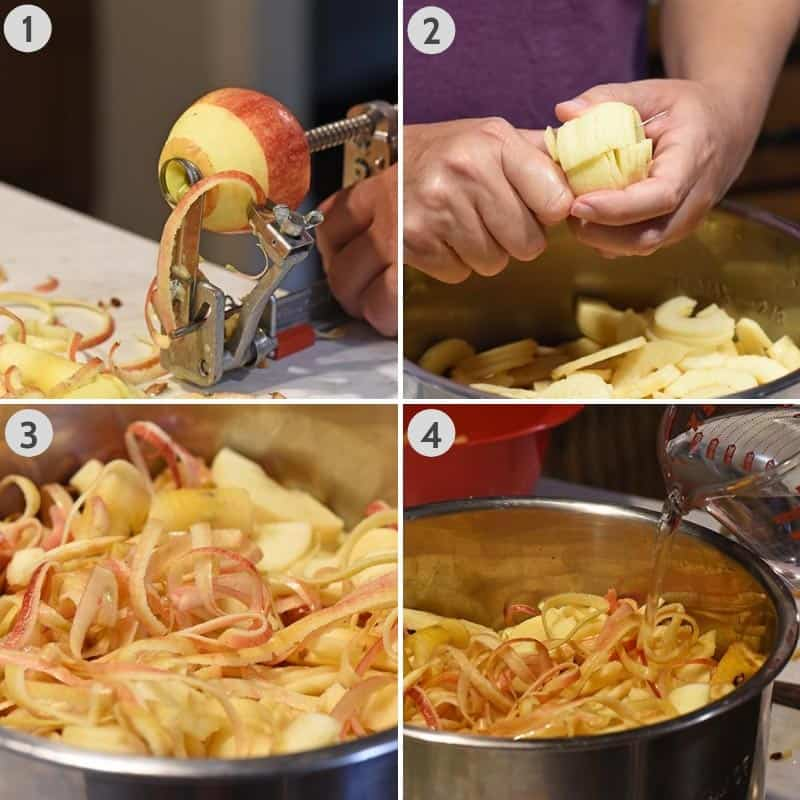 steps for how to make apple juice without a juicer in the Instant Pot, including peeling and coring the apples and adding water