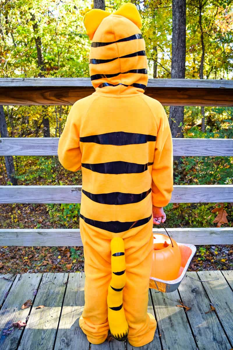 Garfield costume made with footie pajamas and black Duck Tape