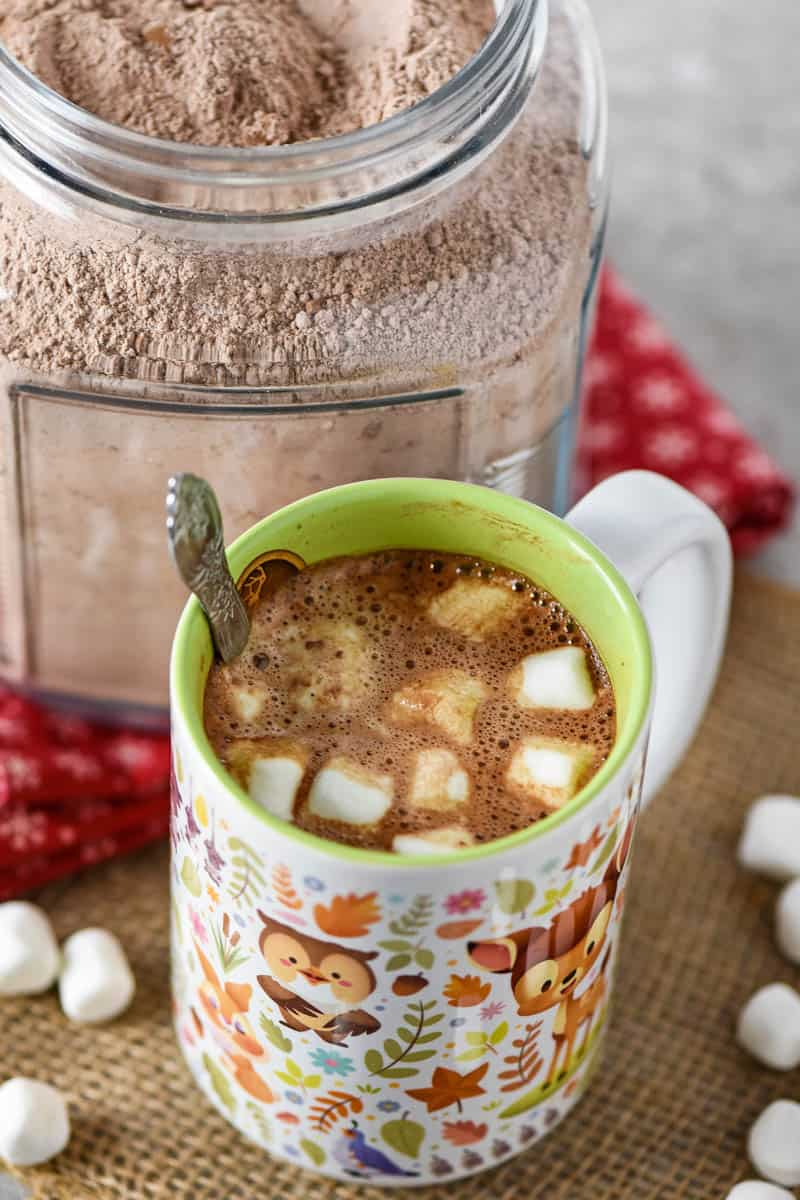 hot chocolate mix recipe in cracker jar and made into homemade hot chocolate with mini marshmallows in Disney Bambi mug