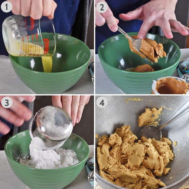 how to make buckeye balls by mixing butter, peanut butter, and powdered sugar together in green mixing bowl