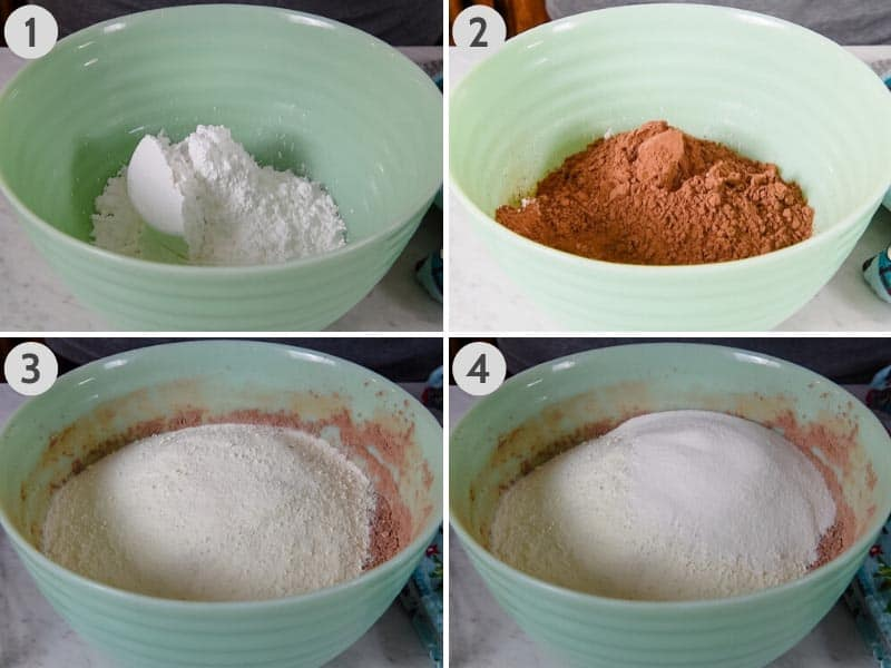 steps for how to make hot chocolate mix from scratch in Pioneer Woman jadeite mixing bowl